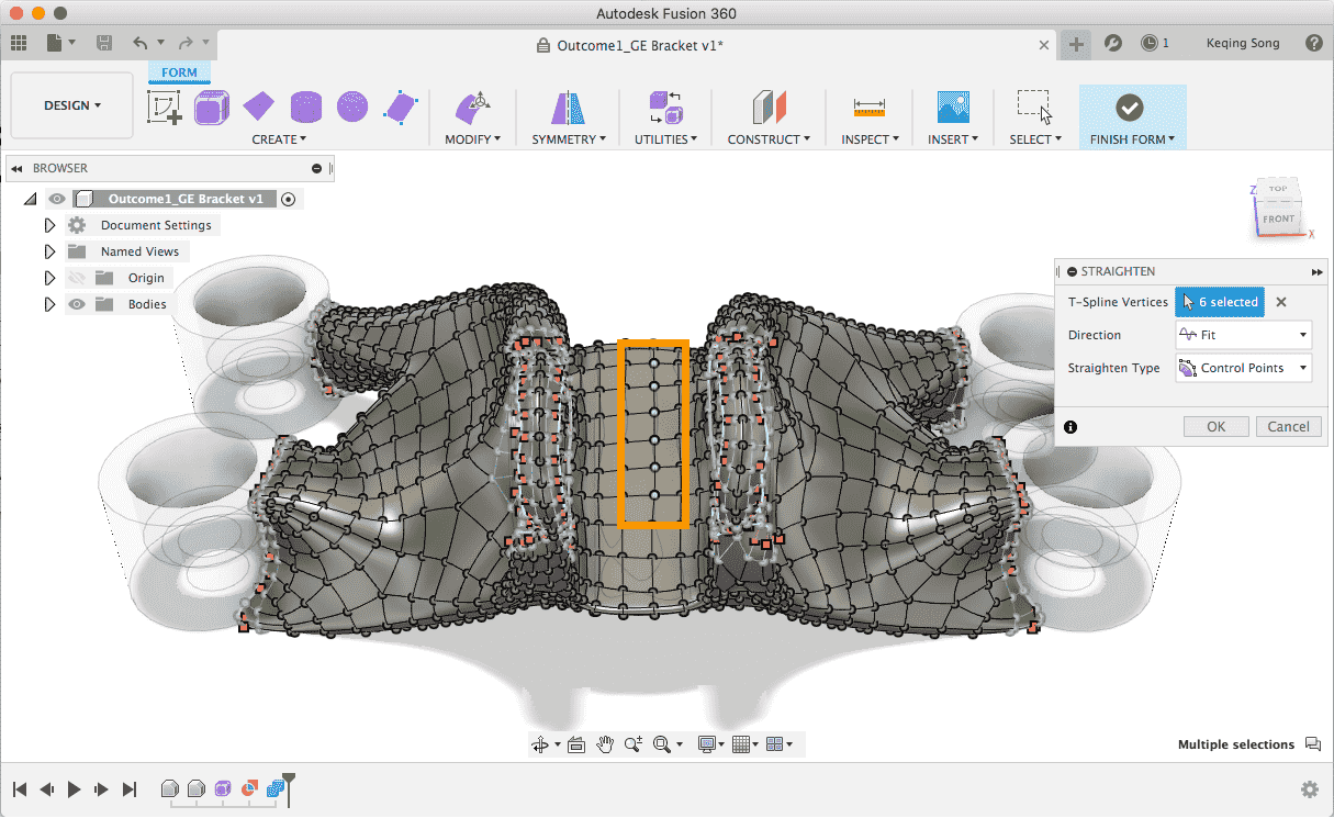 new fusion 360 2021 straighten command