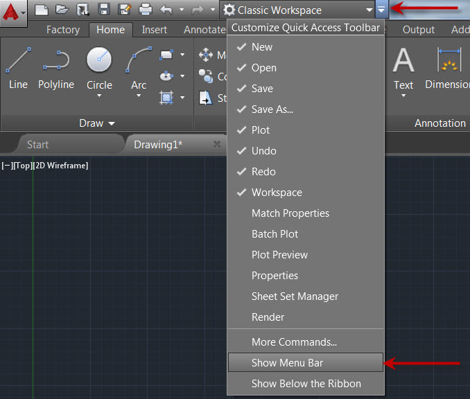 Restoring AutoCAD Classic Workspace in AutoCAD 2015 and